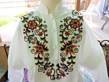 Vintage 80's Blouse Embroidery Hungarian Traditional Peasant Top Boho SMALL NWT