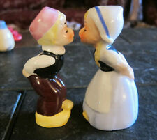 """Vintage Boy Girl Salt Pepper Shakers Kissing Japan Dutch Holland Napco 3.5"""""""