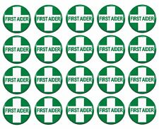 20x First Aider First Aid Qualified Training 25mm / 1 Inch D Pin Button Badges