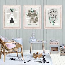 Bild Set Kunstdruck A4 Waschbär Traumfänger Tipi Kinderzimmer Deko Geschenk