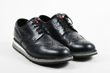 MENS Prada Sport Black Gray White Leather Platform Brogue Oxford Sneakers SZ 10