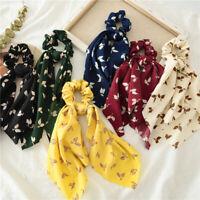 Women Floral Print Scrunchies Bow Ribbon Hair Ties Hair Scarf Elastic Hair Rope