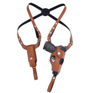Tactical Gun Holster Shoulder Genuine Real Leather Pistol and Mag Concealed Vest
