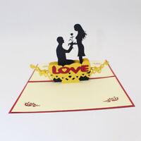 Trendy Sweet 3D Greeting Card Valentines Handmade Couple Postcard Gift Jian