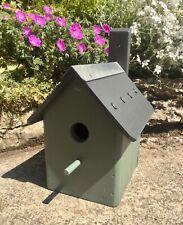 BIRD HOUSE NEST BOX - SAGE GREEN - HANDMADE BESPOKE - WOODEN - SOLID & STURDY