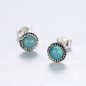 925 Sterling Silver 6mm Round beaded Blue Opal post stud earrings Gift Box PE44