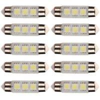 10 x White 39MM 3 LED 5050 SMD Festoon Car Light Interior Lamp Bulb 12V New E1D8