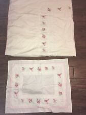 Pottery Barn Kids Pink White floral Twin DUVET Sham Girl Set