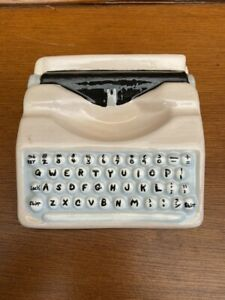 Ceramic Typewriter Figurine~QWERTY~Dated 1975~Mid Century Style~Hand Painted