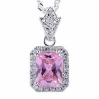 Emerald Cut Pink Sapphire CZ Pendant 18K White Gold Plated Necklace 18inch Chain