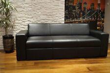 Schwarz Echtleder Rindsleder Sofa Couch mit Schlaffunktion 100% Echt Leder