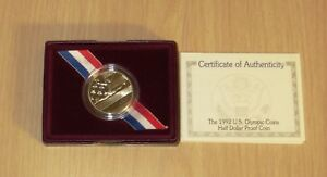US 1992 Olympic Clad Proof Half Dollar  US Mint box, Certificate Authenticity