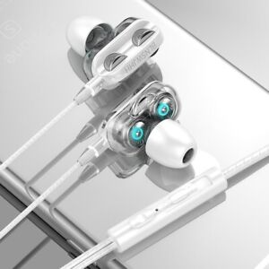Dual Drive 6D Stereo Wired Earphone Headset Earbuds Bass 3.5mm Gaming With Mic