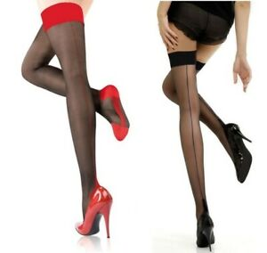 Women Back Seam Sexy Stockings Thigh High Black Sheer Lace Top Thin Over Knee