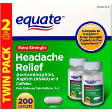 Equate Extra-Strength Headache Relief 200 Tabs, Acetaminophen Aspirin Caffeine