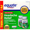 Equate Extra-Strength Headache Relief 200 Tabs, Acetaminophen Aspirin Caffeine