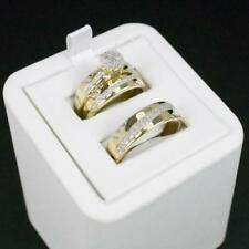14K Yellow Gold Fn Men's And Woman's Diamond Wedding Ring Bands Trio Bridal Sets