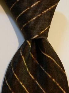 BVLGARI Sevenfold Men's 100% Silk Necktie ITALY Luxury STRIPED Brown/Tan EUC