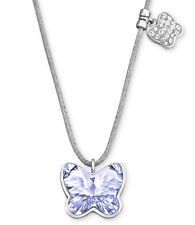 Swarovski Butterfly Mini Provence Lavender Crystal Grey Cord Ladies Necklace