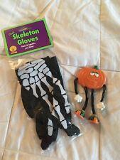 HALLOWEEN child skeleton gloves & Pumpkin figurine