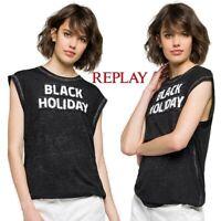 T-shirt da donna REPLAY taglia M maglietta smanicata maltinta canotta paillettes