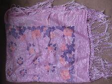 Grande écharpe foulard mauve fleurs rose et bleu fil d'argent 1m  X 1 m élégante