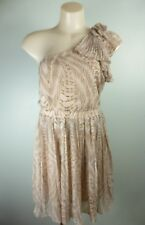 PORTMANS light brown ruffle frill pleated one shoulder Dress sz 8