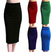 Women's Ladies Plain Office Work Pencil Stretch Jersey Bodycon Mini Midi Skirt