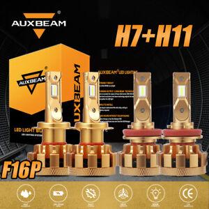 AUXBEAM 140W H7+H11 Combo LED Headlight Bulb Kit Super Bright High Low Beam F16P