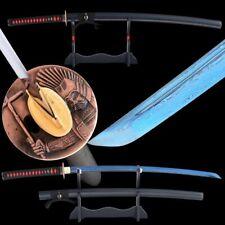 Folded Steel Samurai Katana Damascus Full Tang Blue Blade Handmade Battle Ready