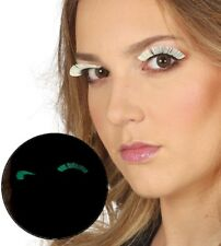 Ladies Glow In The Dark False Eyelashes Burlesque Drag Halloween Fancy Dress
