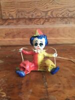 Vintage Paper Mache Clown Figurine On Swing
