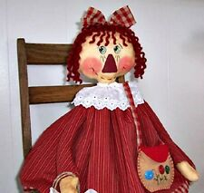 "Primitive Raggedy Ann Cloth Doll Pattern  w/ Felt PursePattern, ""Annabelles Mom"""