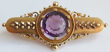 Stunning Antique Victorian 15ct Gold Etruscan Decorated Amethyst Brooch c1885