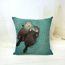 Cute Cartoon Otter Cotton Linen Pillow Case Sofa Animal Cover Throw Cushion K0P9