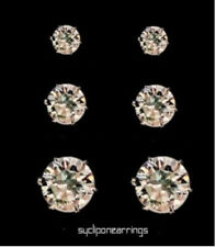 8mm Unisex Clear Round Crystal Magnetic Clip On Cubic Zirconia Stud Earring