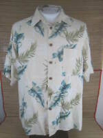 Caribbean Dillard Men Hawaiian ALOHA shirt L pit to pit 24 silk tropical luau
