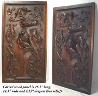 Antique Hand Carved LG Walnut Wood Panel, Figural Woman's Bust, Italian, French