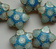 6 dell'era Maji Perline, decorata a fiori/forma di stella, Blu 20mm. gioielli