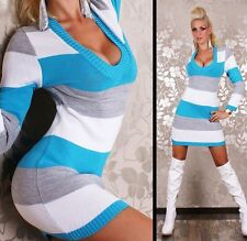 Sexy Redial knitted dress in stripe blue white one size