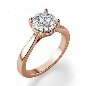 2.70 Ct Moissanite Round Cut Rose Gold Birthday Ring 14K Solitaire Girl ring
