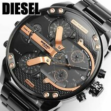 NEW DIESEL DZ7312 MR DADDY 2.0 Black Dial Chronograph Four Time Zone Men's Watch