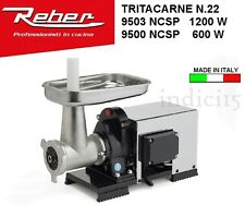 Indici15 Tritacarne Carenato INOX 9500NCSP n°22 600W 0,80HP Professionale Reber