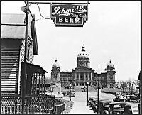 "Des Moines, Iowa, antique view, 1940, 20""x16"" print, AMERICA, Schmidt BEER Sign"