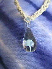 LIGHT BLUE Glass Mushroom Pendant Hemp Necklace SHROOM Hippie Hand Made Retro