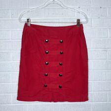 Anthropologie Odille Size 4 Red Bridgadier Corduroy Skirt Button Sailor Pencil