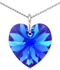 September Birthstone Necklace Sapphire 925 Silver Heart with Swarovski® Crystal