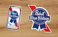 PBR Pabst Blue Ribbon Beer Premium Quality Vinyl 2 Sticker Pack Decal 3x2