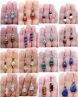 Genuine Natural Jade/Agate/Pearl Gems Silver Drop/Dangle Leverback Earrings