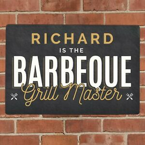 Personalised Metal BBQ Garden Sign Any Name Gift For Fathers Day, Birthday